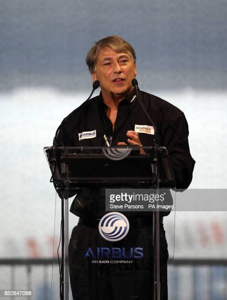Dr Fred Prata who invented the AVOID volcanic technology speaking at a press conference at the Airbus factory in Toulouse France