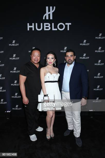 Dr Gabriel Chiu Christine Chiu and Seth Semilof attend the Hublot Private Dinner with Edgar Ramirez at Waldorf Astoria Beverly Hills on March 13 2018...