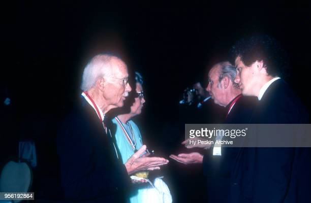 Dr George D Snell ScD the Nobel Prize in Medicine talks with Father Ritter during the 1982 Academy of Achievement Golden Plate Awards on June 24 1982...