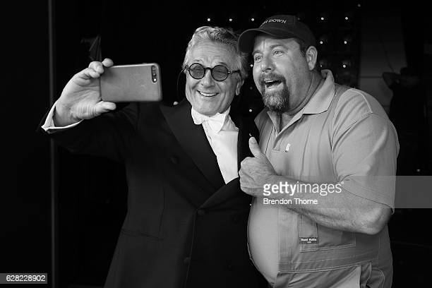 Dr George Miller and Shane Jacobson pose for a 'selfie' backstage during the 6th AACTA Awards Presented by Foxtel at The Star on December 7 2016 in...