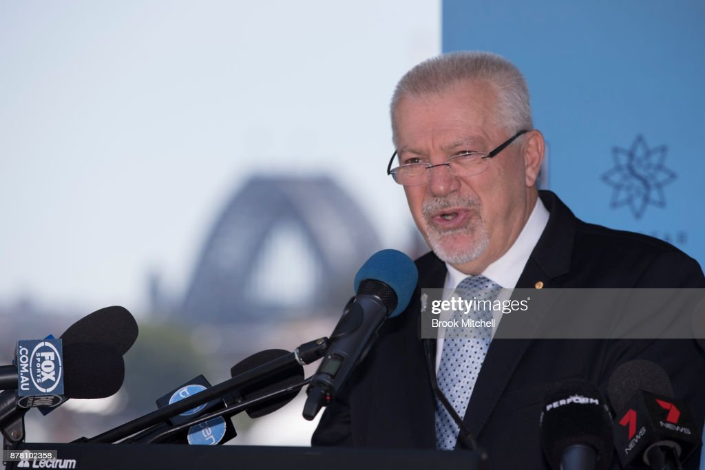 Dr George Peponis speaks at a NSWRL press conference at the Star announcing Brad Fittler as coach of the New South Wales State of Origin team on November 24, 2017 in Sydney, Australia.