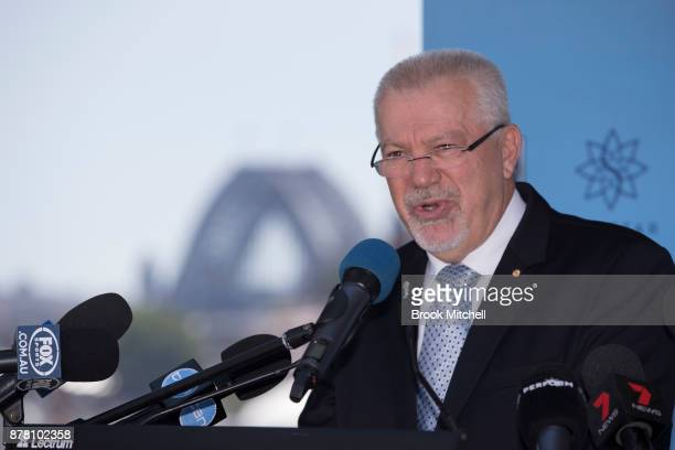 Dr George Peponis speaks at a NSWRL press conference at the Star announcing Brad Fittler as coach of the New South Wales State of Origin team on...
