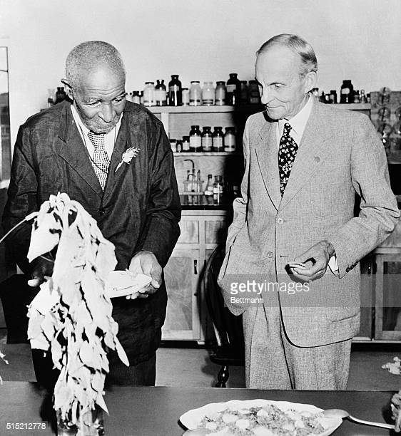 Dr George Washington Carver with Henry Ford after being presented with a modern fully equiped laboratory for food research a gift from Mr Ford