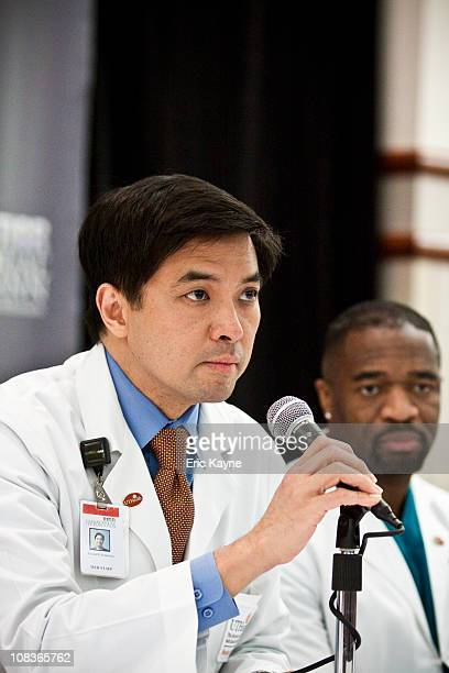Dr Gerard Francisco chief medical officer TIRR Memorial Hermann hospital speaks at a press conference to update the media on the condition of US Rep...