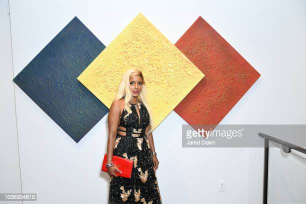 Simona Pelin attends Dr Gina Sam's Resident Magazine Cover Party at Georges Berges Gallery on September 20 2018 in New York City