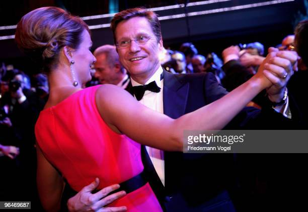 Dr Guido Westerwelle dances with Franziska van Almsick at the 2009 Sports Gala 'Ball des Sports' at the RheinMain Hall on February 6 2010 in...