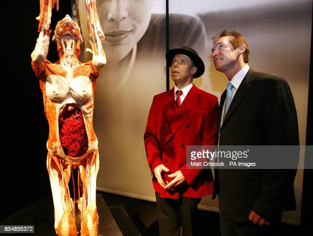 Dr Gunther von Hagens, left and Dr Hilary Jones at von Hagens latest exhibition, Body Worlds And The Mirror of Time, at The O2 Arena, Greenwich,...