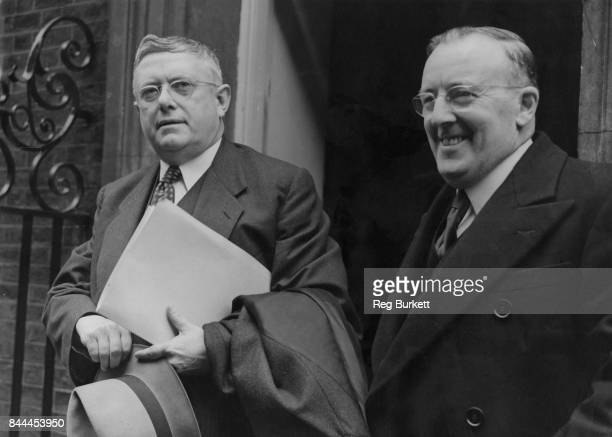 Dr H V Evatt the Australian Deputy Prime Minister and Jack Beasley the Australian High Commissioner in London arrive at 10 Downing Street in London...