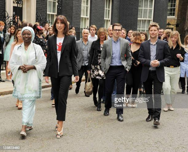 Dr. Hajara Kera, Samantha Cameron, Erdem Moralioglu, Charlotte Dellal, Christopher Bailey and Sarah Burton attend the launch of Save The Children's...