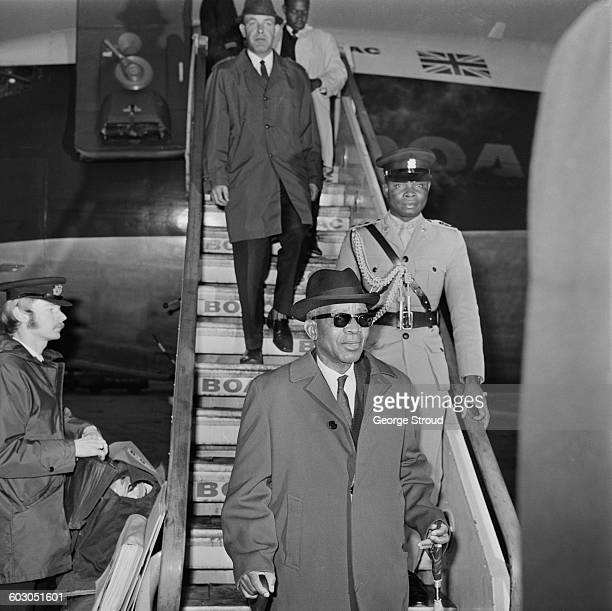 Dr Hastings Banda President of Malawi flies into London having attended the Commonwealth Heads of Government Meeting in Singapore 22nd January 1971