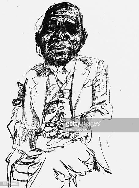 Dr Hastings Banda Prime Minister and later President of Malawi circa 1963 A sketch by Polishborn British expressionist Feliks Topolski
