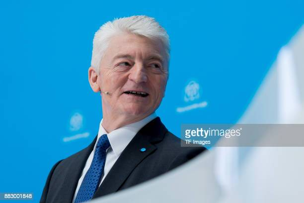CEO dr Heinrich Hiesinger looks on during the annual results press conference of Thyssenkrupp AG on November 23 2017 in Essen Germany