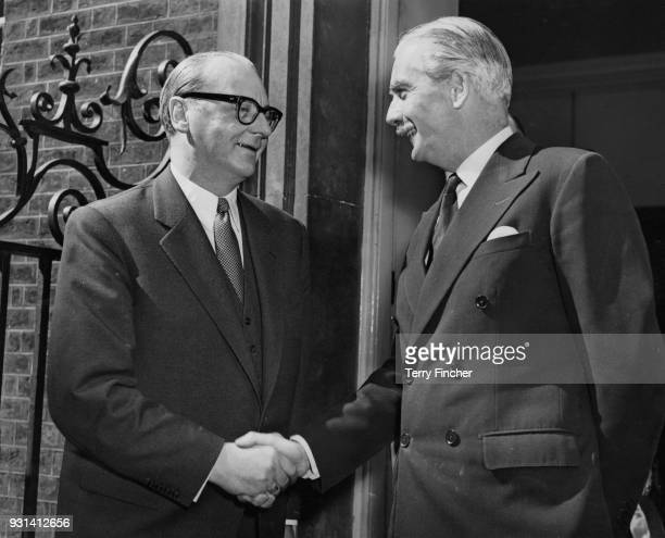 Dr Heinrich von Brentano the German Foreign Minister shakes hands with British Prime Minister Anthony Eden after lunch at 10 Downing Street 2nd May...