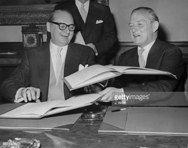 Dr Heinrich von Brentano the German Foreign Minister with British Foreign Secretary Selwyn Lloyd after signing the AngloGerman Cultural Agreement at...