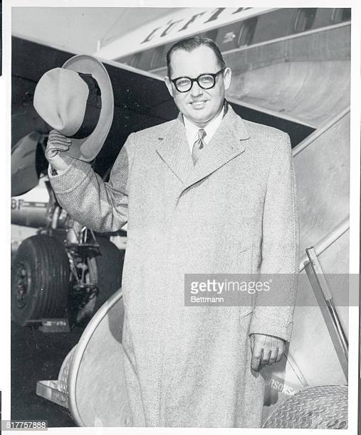 Dr Heinz Kreckler West German Ambassador to the United States leaves New York International Airport for Germany aboard a Lufthansa Super G...