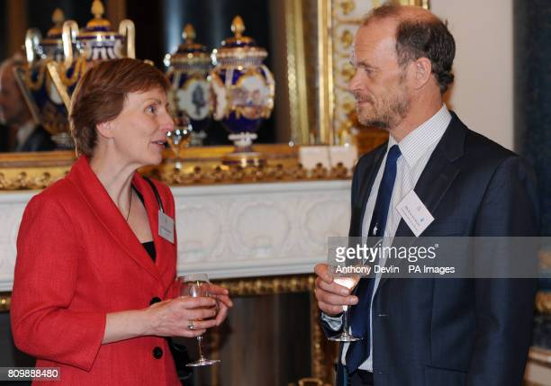 Dr Helen Sharman speaks with Falcon Scott as the Queen and Duke of Edinburgh host a reception to celebrate exploration and adventure at Buckingham...
