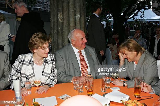 Dr Helmut Kohl girlfriend Maike Richter And Angela Merkel at Zdf summer festival on the Museum Island in Berlin 290605