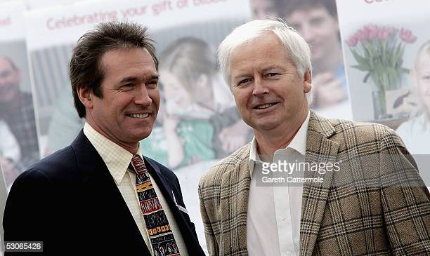 Dr Hilary Jones and Ian Lavender are seen at the launch of the annual international World Blood Donor Day at Trafalgar Square on June 14 2005 in...