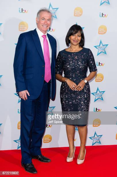 Dr Hilary Jones and Ranveer Singh attend the Good Morning Britain Health Star Awards at the Rosewood Hotel on April 24, 2017 in London, United...