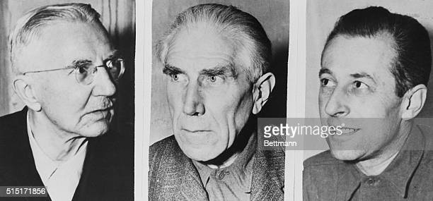 Dr Hjalmar Schacht former minister and Reichsbank president Franz von Papen Nazi foreign ambassador and Hans Fritzsche senior official in the Reich...