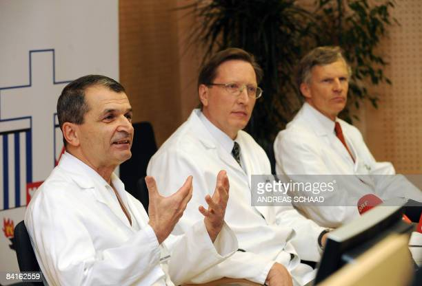 Dr Hubert Artmann, Dr Reinhard Lenzhofer and Dr Franklin Genelin from the hospital Schwarzach give a press conference concerning the skiing accident...