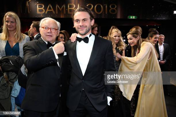 Dr Hubert Burda and his son Jakob Burda during the Bambi Awards 2018 Arrivals at Stage Theater on November 16 2018 in Berlin Germany