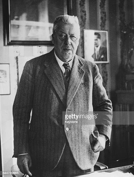 Dr Hugo Eckener Commander of the Graf Zeppelin at his desk August 15th 1953 Printed after his death on August 14th 1954