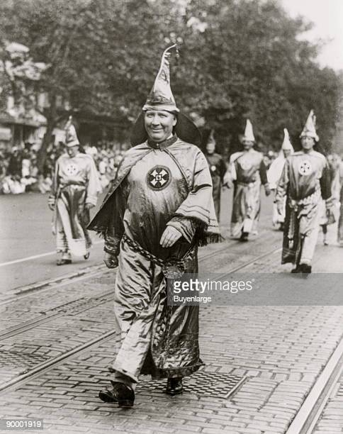 Dr HW Evans Imperial Wizard of the Ku Klux Klan leading his Knights of the Klan in the parade held in Washington DC
