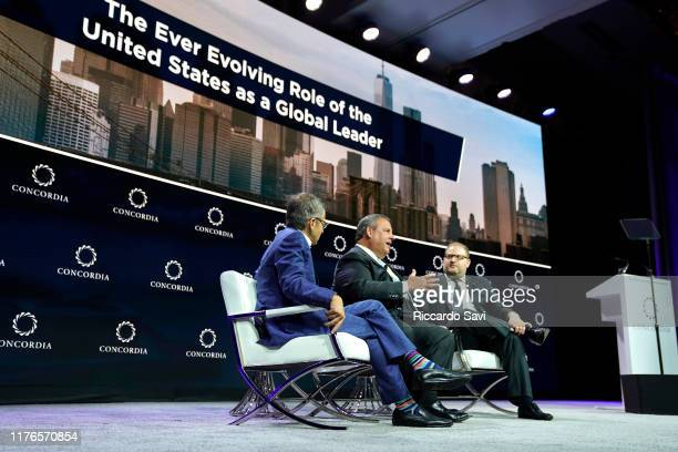 Dr. Ian Bremmer, President and Founder of Eurasia Group and Gzero Media, Former Governor of New Jersey Chris Christie and Nicholas Logothetis,...