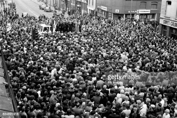 Dr Ian Paisley addresses a mass gathering of supporters in the Protestant Shankhill Road area of Belfast The Ulster Workers' Council declared that...