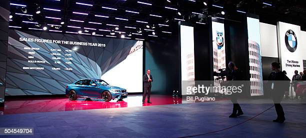 Dr Ian Robertson Member of the Board of Management of BMW AG reveals the BMW M2 Coupe to the news media for its World Debut during the 2016 North...
