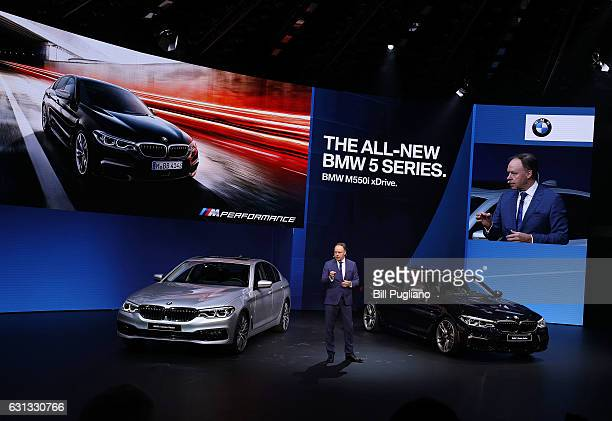 Dr Ian Robertson Member of the Board of Management of BMW AG Sales and Marketing reveals the 2018 BMW 5Series at the 2017 North American...