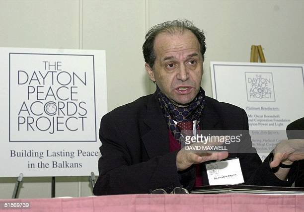 Dr Ibrahim Rugova President of the Democratic League of Kosova responds to questions during a press conference 18 November 2000 during the Fifth...