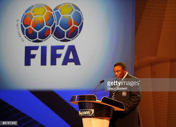 Dr Irvin Khoza Chairman of the Local Organising Committee addresses the guests before the Official Draw for the 2009 FIFA Confederations Cup with the...