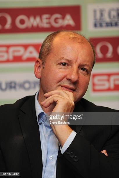 Dr Istvan Simicsko talks to the media during a press conference for the 19th SPAR European Cross Country Championships at the Ramada Aquincum Hotel...