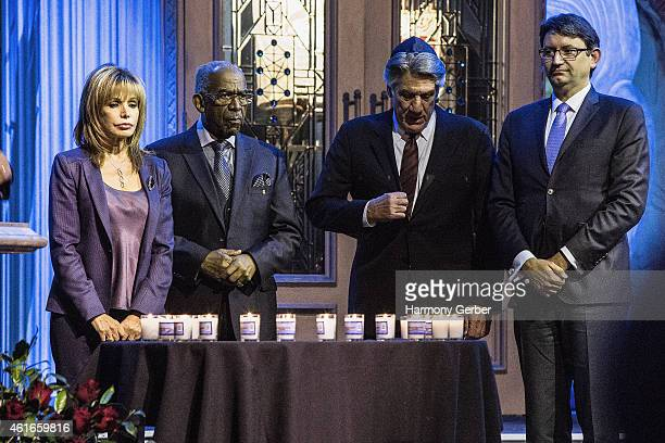 Dr J Benjamin Hardwick Stephen Macht and Axel Cruau attend Shabbat Service Honoring Paris Terrorist Victims And The Legacy Of Dr Martin Luther King...
