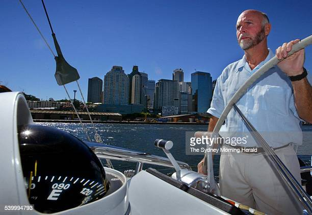 Dr J Craig Venter as he steers his research vessel out of Darling Harbour during a stopover on a 2 year long expedition to collect water samples from...