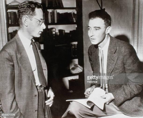 Dr J Robert Oppenheimer chats with Dr Robert Serber at UC Berkeley regarding plans to resume teaching