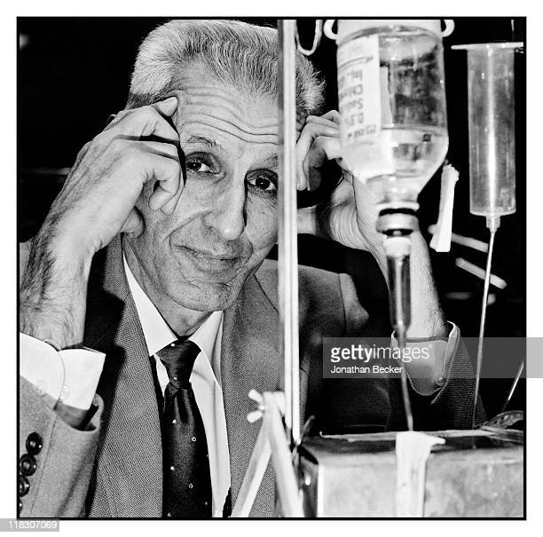 Dr Jack Kevorkian is photographed with the Thanatron for Vanity Fair Magazine on January 8 1991 in Detroit Michigan