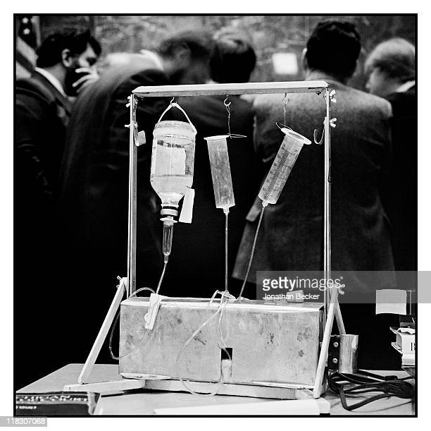 Dr Jack Kevorkian's death machine called 'The Thanatron' is photographed for Vanity Fair Magazine on January 8 1991 in Detroit Michigan