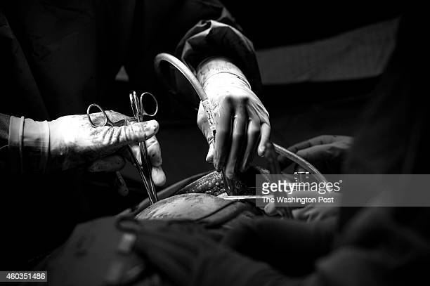 Dr Jack Sava director of the Gold Surgery team and Dr Sara Chaffee operate on a gunshot wound victim at MedStar Washington Hospital Center during a...
