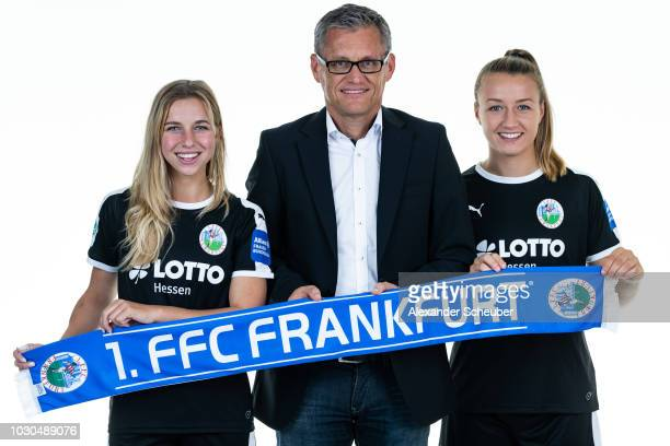 Dr Jackie Groenen Allianz Insurance Manager Juergen Ruppel and Tanja Pawollek pose during the 1 FFC Frankfurt Women's team presentation on September...