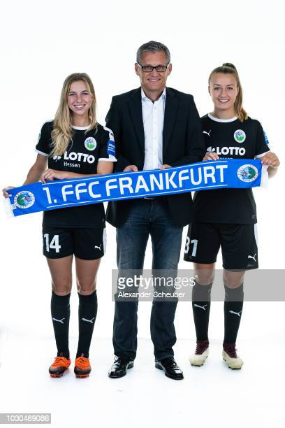 Dr Jackie Groenen Allianz Insurance Manager Juergen Ruppel and Tanja Pawollek pose during the 1 FFC Frankfurt Women's team presentation on September...
