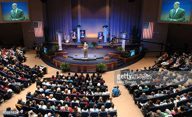 Dr James Dobson speaks at Highview Baptist Church during the Justice Sunday nationwide simulcast April 24 2005 in Louisville Kentucky Republicans are...