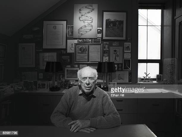 Dr James Watson scientist and part of the team that discovered the double helix structure of DNA poses at a portrait session for Newsweek at his...