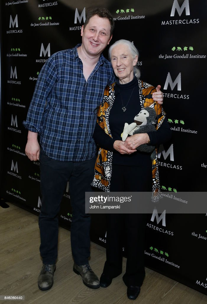 Dr. Jane Goodall and CEO of MasterClass, David Rogier attend 'Dr. Jane Goodall's MasterClass' New York screening at the Whitby Hotel on September 12, 2017 in New York City.