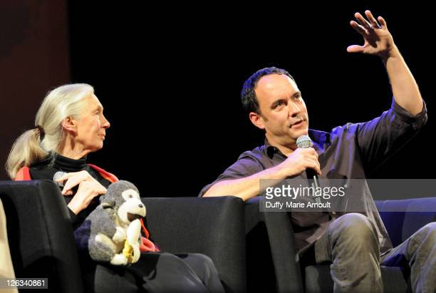 Dr Jane Goodall and Dave Matthews attend 2011 Jane Goodall Global Leadership Awards at the El Capitan Theatre on September 24 2011 in Hollywood...