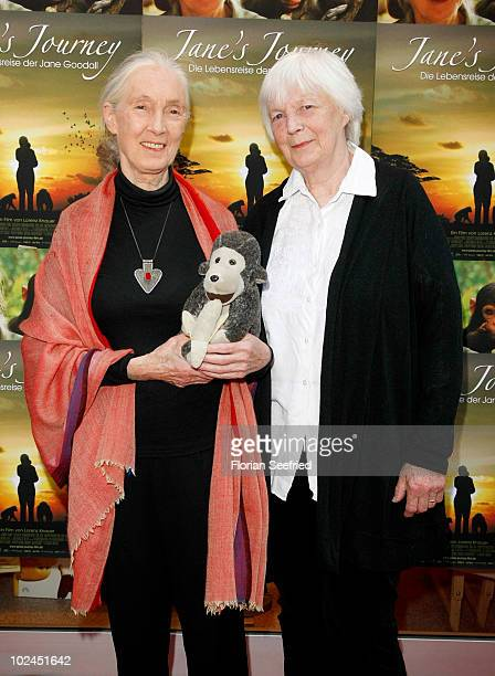 Dr Jane Goodall and sister Judy Waters attend the Photocall of 'Jane's Journey' during the Munich Film Festival at Rio Cinema on June 26 2010 in...