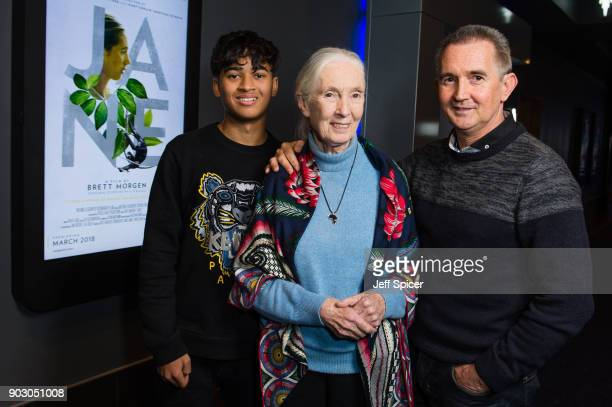 Dr Jane Goodall , her son 'Grub' and grandson Nick van Lawick attend a special screening of BAFTA nominated National Geographic documentary 'Jane' in...