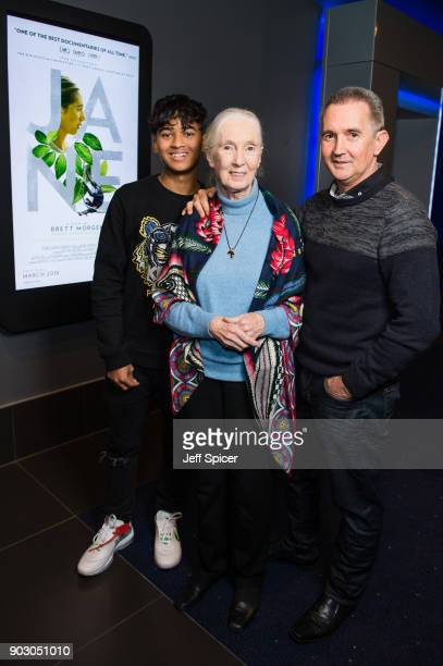 Dr Jane Goodall her son 'Grub' and grandson Nick van Lawick attend a special screening of BAFTA nominated National Geographic documentary 'Jane' in...